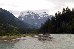 Mount Robson Early Morning From Bridge Over Robson River Near Park Headquarters and Visitor Centre
